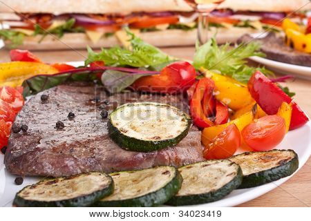 tender beef fillet steak with vegetables