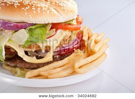 cheeseburger with french fries on disposable plate
