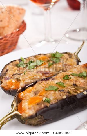 stuffed with cheese and mushrooms aubergines