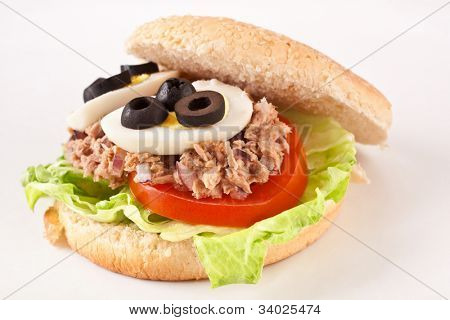 Mediterranean tuna and egg sandwich