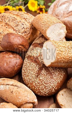 bread assortment on wooden table
