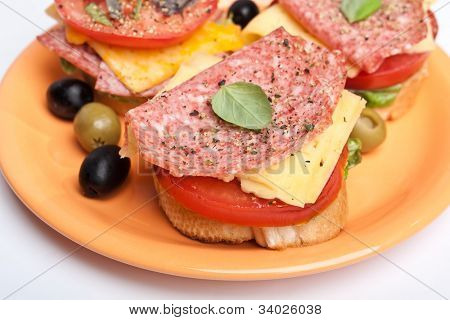 sandwich with salami ,cheese and vegetables on a plate