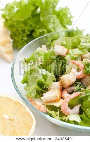 traditional caesar salad with shrimp