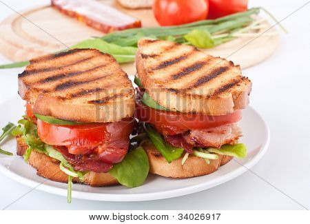 Bacon, lettuce and tomato BLT sandwiches with fresh ingredients