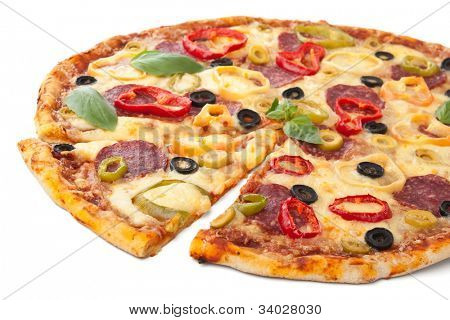 salami and vegetable  pizza