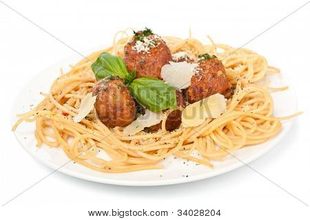 spaghetti with chicken meatballs  on a plate