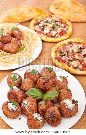 italian cuisine- meatballs, pasta, pizzas
