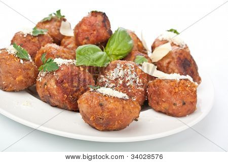 chicken meatballs on a plate