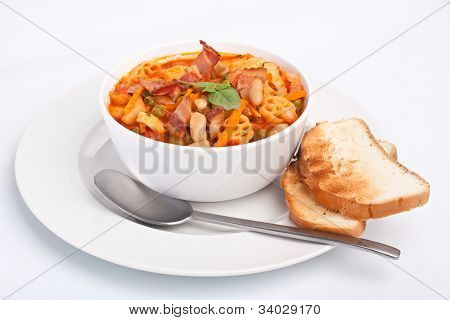 bowl of  minestrone with pasta