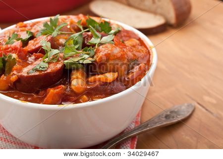 sausage, chorizo and bean stew