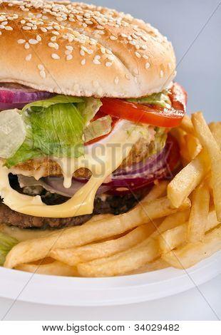 Cheeseburger mit Pommes frites auf Einweg Teller