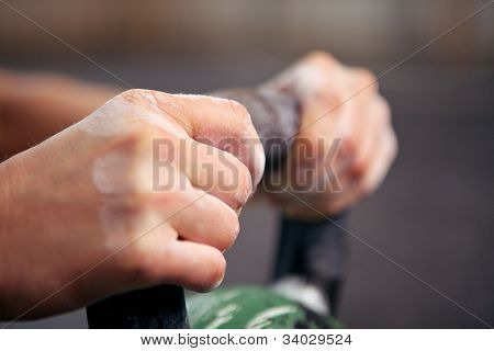 Closeup Of Hands On Kettlebell