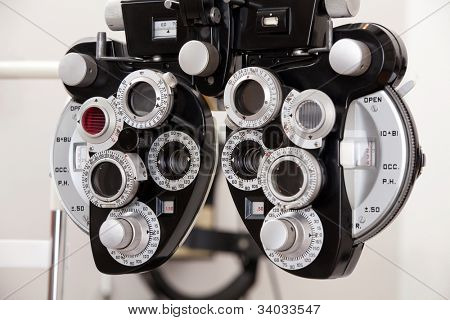 Close-up of eye exam equipment.