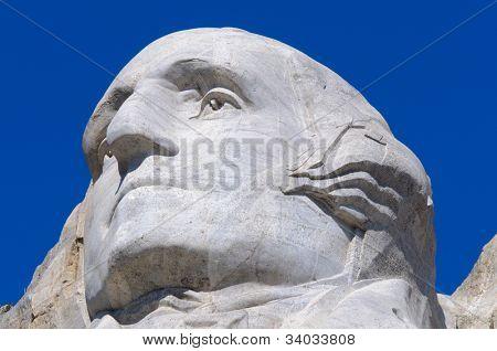George Washington face on Mount Rushmore National Memorial
