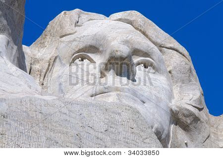 Thomas Jefferson face on Mount Rushmore National Memorial