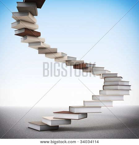 3d image of book stair illustration