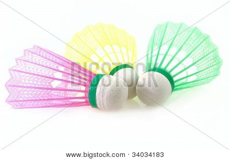 Shuttlecock For Badminton Game Different Color On White Background