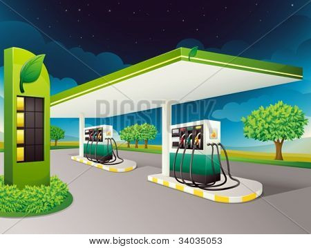 illustration of a petrol pump on a road