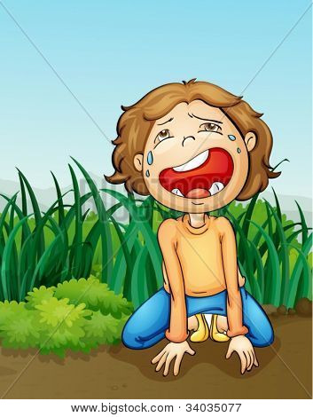 illustration of a outdoor boy crying alone