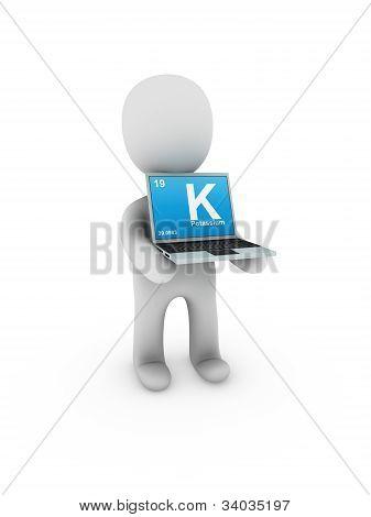 Potassium Symbol On Screen Laptop