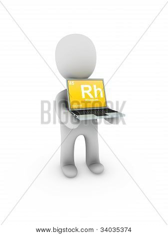 Rhodium Symbol On Screen Laptop