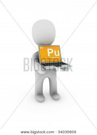 Plutonium Symbol On Screen Laptop
