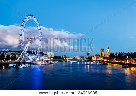 London Eye, Westminster Bridge And Big Ben In The Evening, London, United Kingdom
