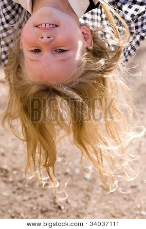 Head Over Heels Face Of Little Girl