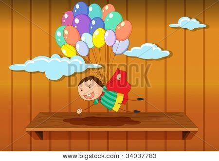 Illustration of a simple boy flying