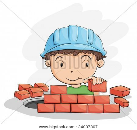 illustration of a boy building wall on a white