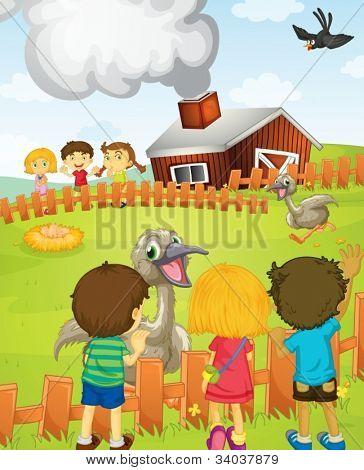 Illustration of kids at the farm