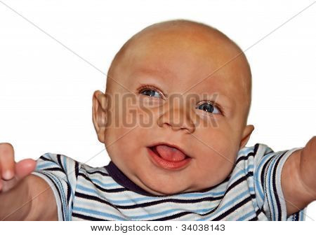 4 Month Old Bi-racial Baby Boy Isolated On White