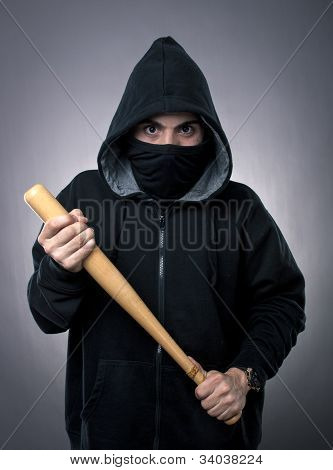 Young Hooligan With Baseball Bat