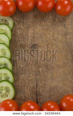 healthy vegetable food over wood background board