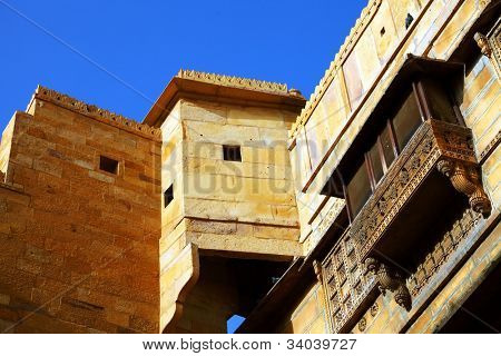 Architectural detail of Mandir Palace Museum, Jaisalmer, India, Asia