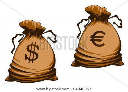 Euro And Dollar Money Bag