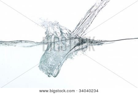Pouring fresh water over white background