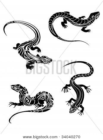 Fast Lizards In Tribal Style