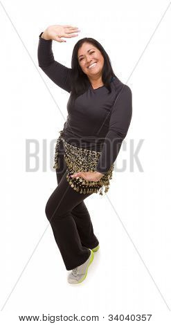 Attractive Hispanic Woman Dancing on a White Background.