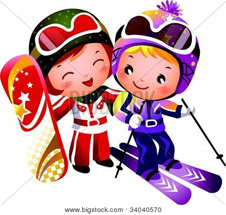 Boy and Girl skiing