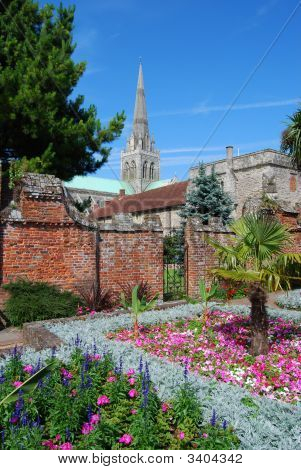 Garden And Cathedral. Chichester. West Sussex. England