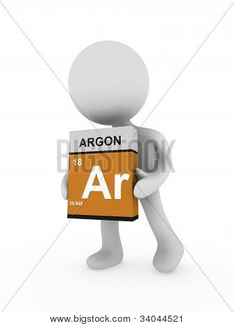 3D Man Carry A Argon Box