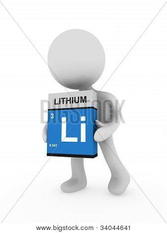 3D Man Carry A Lithium Box
