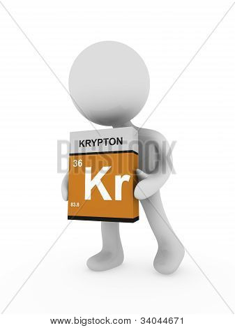 3D Man Carry A Krypton Box