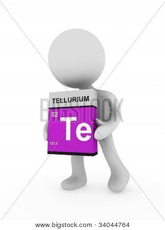 3D Man Carry A Tellurium Box