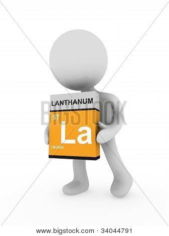 3D Man Carry A Lanthanum Box