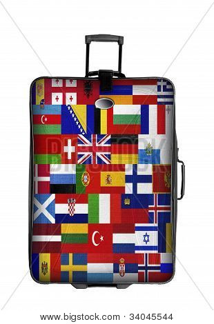 Dark Suitcase With European Flags Isolated Over White