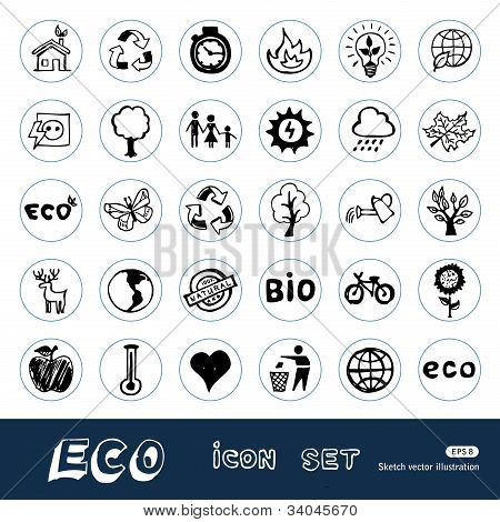Eco elements and environment web icons set