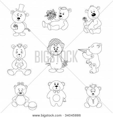Set toy teddy bears