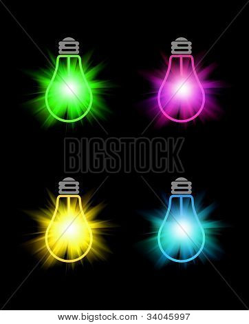 Set Of Bright Color Bulbs